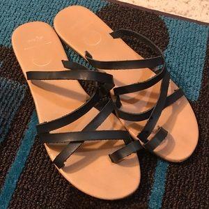 Del Mar Strappy Black Sandals